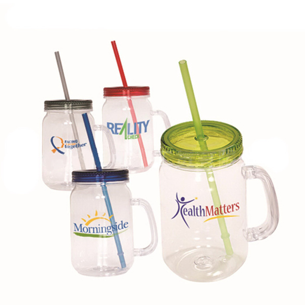Plastic Mason Jar Cup With Straw And Handle