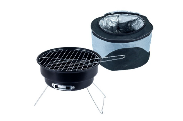 Portable grill and cooler set