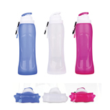 17 Oz Foldable Reusable Silicone Water Bottles BPA Free