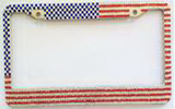 American Flag Diamond-encrusted License Plate Frame