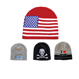 Budget Double Thickness Knitted Hat Flag Beanie Hat Cap