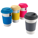 Coffee Mug With Silicone Band And Cover