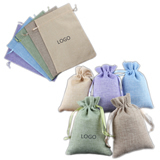 Colorful Linen Drawstring Bag