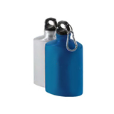 Flat Aluminum Water Bottles With Silver Carabiner