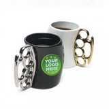 New Design Fist Metal Handle Ceramic Mug