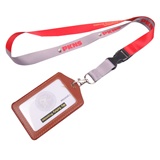 Polyester Lanyards with PVC Leather Badge Holder