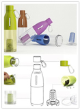 Portable Collapsible Bottle with Silicone Kooler