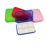 Promotional 6 Compartment Pill Case, Pill Box