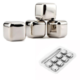 Stainless Steel Ice Cube 8 pcs Set With Clip FDA Approved