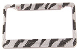 Zebra-stripe Diamond-encrusted License Plate Frame