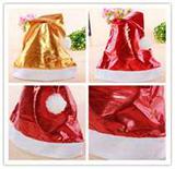 Bright Plush Santa Hat with Golden Stars