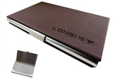 Business Name Card Holder Steel Leather Wrap Case