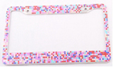 Colorful Diamond-encrusted License Plate Frame