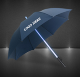 Lighted Shaft Umbrella With Flashlight
