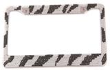 Zebra-stripe Diamond-encrusted License Plate Frame